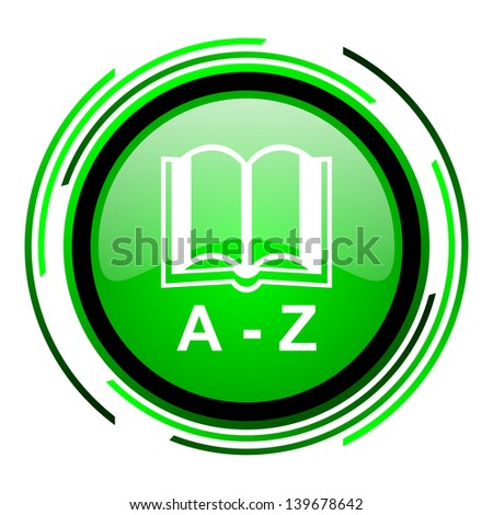dictionary green circle glossy icon