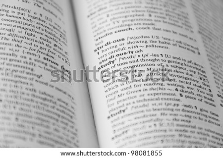"Dictionary page with word ""study"" in focus and other is defocused"