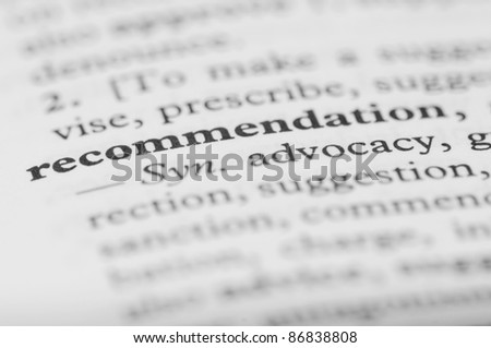 Dictionary Series - Recommendation - stock photo