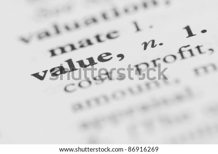 Dictionary Series - Value - stock photo