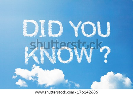 Did you know a cloud word on sky - stock photo