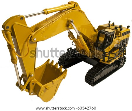 Die Cast Model of an Excavator with its bucket retracted - stock photo