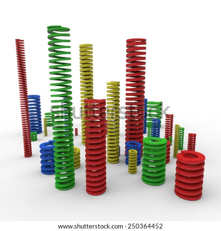 Die compression springs with different colors and sizes to iso10243 on white background - stock photo