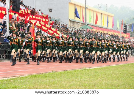 Dien Bien Phu, Dien Bien, VIETNAM May 7, 2014: The 60th anniversary of the Dien Bien Phu victory: Vietnam military parade celebrating the 60th victory of Dien Bien Phu