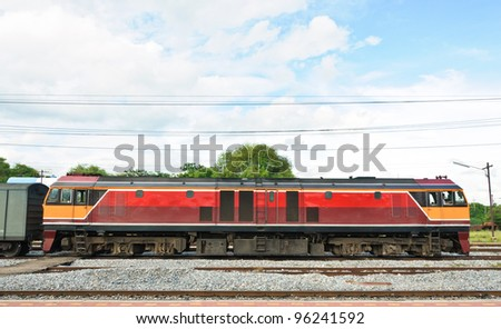 Diesel electric  locomotive in the railway yard of Station,Thailand - stock photo