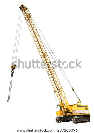 diesel electric yellow crawler crane isolated on white background - stock photo
