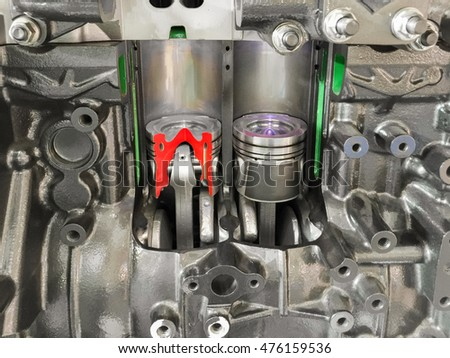 Diesel Engine piston cross section , , display inside materials.