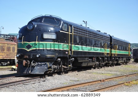 Diesel Locomotive at Steamtown National Historic Site in Scranton, Pennsylvania - stock photo