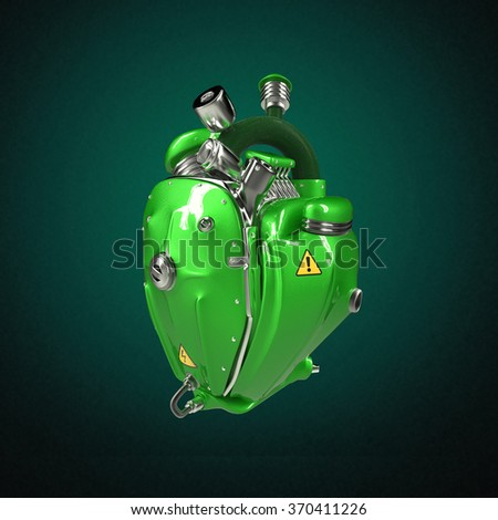 Diesel punk robot techno heart. engine with pipes, radiators and glossy green metal hood parts. bike show rock hardcore poster template isolated - stock photo