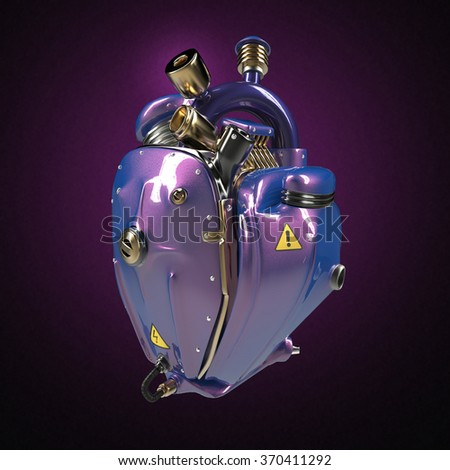 Diesel punk robot techno heart. engine with pipes, radiators and glossy purple metallic car paint metal hood parts. bike show rock hardcore poster template isolated - stock photo