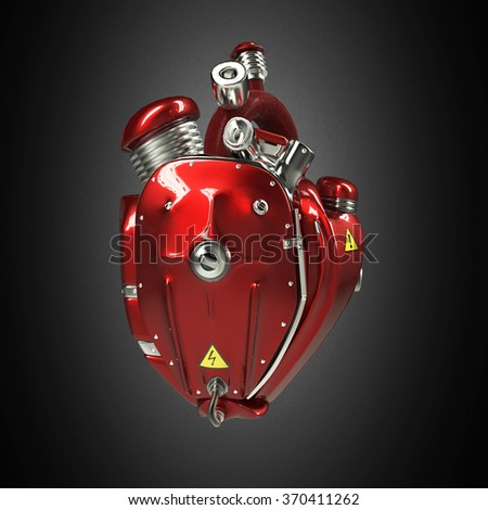 Diesel punk robot techno heart. engine with pipes, radiators and glossy red car paint  hood parts. bike show rock hardcore poster template isolated - stock photo