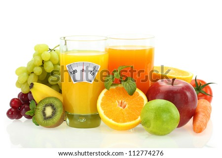 Diet and healthy eating. Fruits, vegetables and juice on white - stock photo