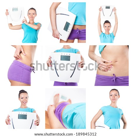 Diet and sport collage. Woman with scales on white  - stock photo