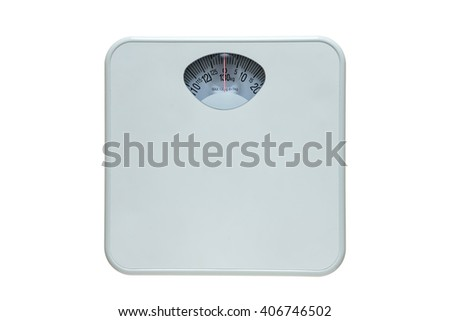 Diet bathroom weight foot scale isolated on white background. This has the clipping path. - stock photo