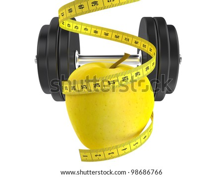 diet concept, apple and measuring tape 3d - stock photo
