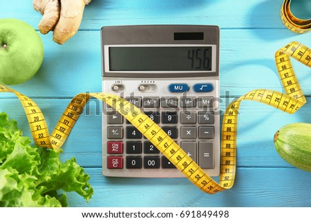 diet concept calculator measuring tape different stock photo