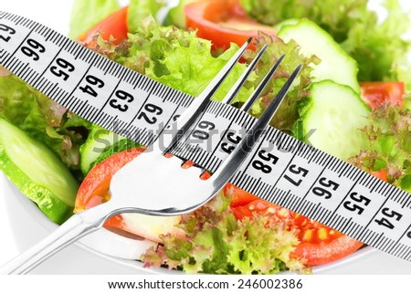 Diet concept. Fresh vegetable salad - stock photo