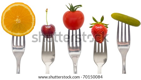 diet concept, snack of vegetables and fruits - stock photo