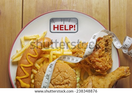 Diet concept weighing scales - stock photo