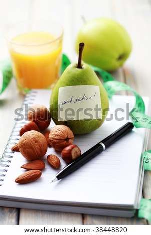 diet diary and fresh fruits - diet and breakfast