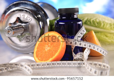 diet ,dumbbells and fitness - stock photo
