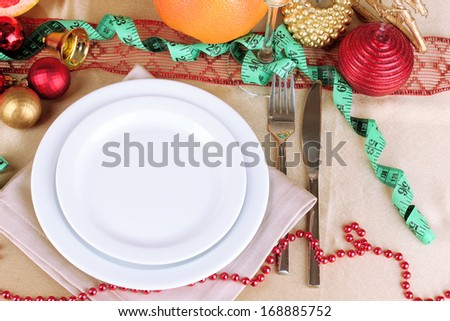 Diet during the New Year's feast close-up - stock photo