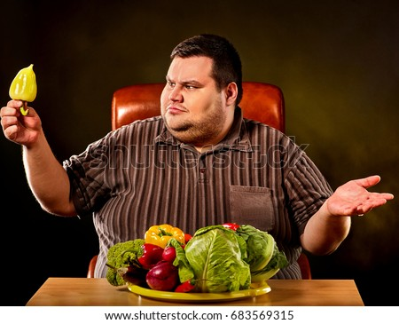 diet fat man eating healthy food stock photo edit now 683569315