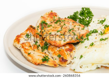 Diet food, Clean Eating, Chicken Steak with Eggs - stock photo