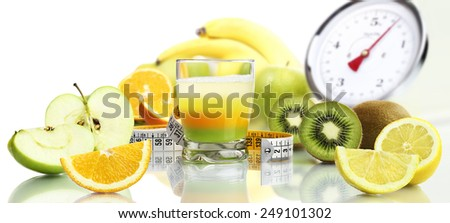 diet food concept vitamins mixed fruit drink - stock photo