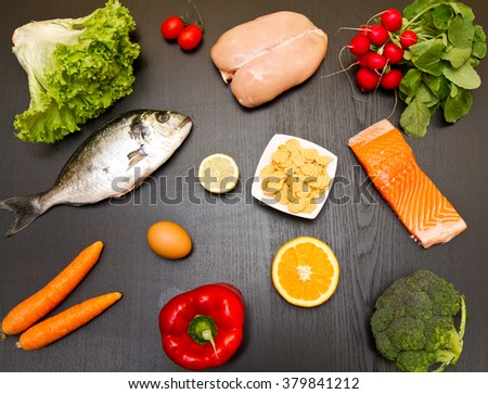 diet food on wood background
