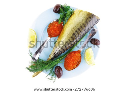 diet food - red caviar and smoked mackerel fish with lemon and dill on blue plate isolated over white background - stock photo