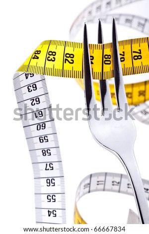 DIET - Fork with measuring tape - completely isolated on white - stock photo