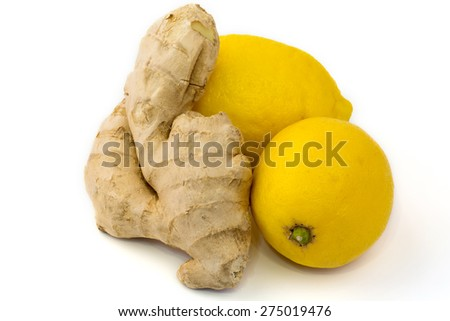 diet ginger lemon on a white background vitamins breakfast lunch dinner health home kitchen organic eco low weight - stock photo