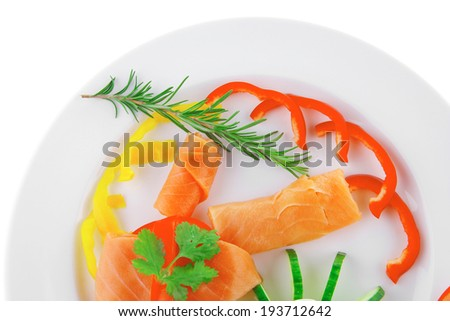 diet healthy food - fresh smoked sea salmon rolls with tomatoes egg and rosemary on plate isolated over white background - stock photo