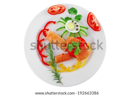 diet healthy food - smoked sea salmon rolls with vegetables and egg on plate isolated over white background - stock photo