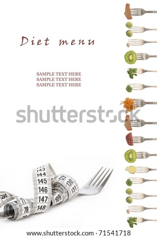 diet menu with the place for your text - stock photo