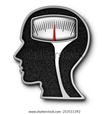 Diet psychology concept as a weight scale shaped as a human head as a symbol for eating issues and obsession of counting calories with a kilogram or pound measurement equipment. - stock photo