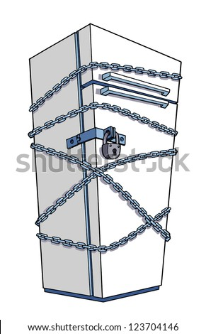 Diet. Refrigerator wrapped in chains - stock photo