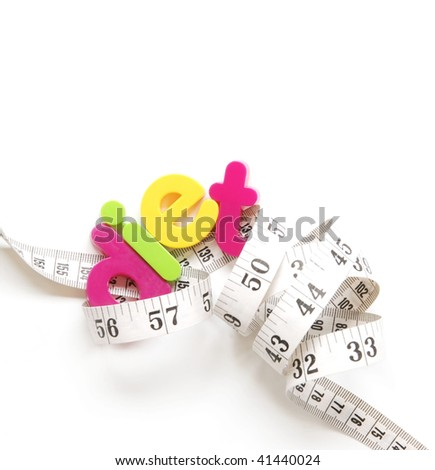 diet tangled in a tape measure - stock photo