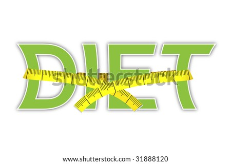 diet text with yellow measuring tape - stock photo