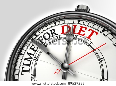 diet time concept clock closeup on white background with red and black words