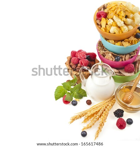Diet weight loss breakfast concept tower stack isolated on a white background  - stock photo