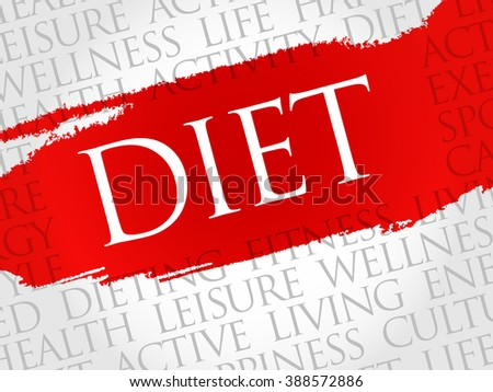 Diet word cloud, health concept