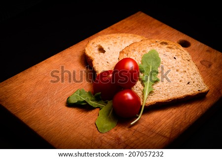 Dietary bread toaster with tomato - stock photo