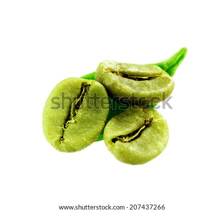 dietary green coffee beans and leaf isolated on white background - stock photo