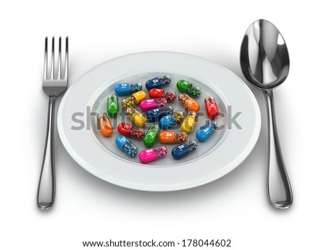 Dietary supplements. Variety pills. Vitamin capsules on plate. 3d - stock photo