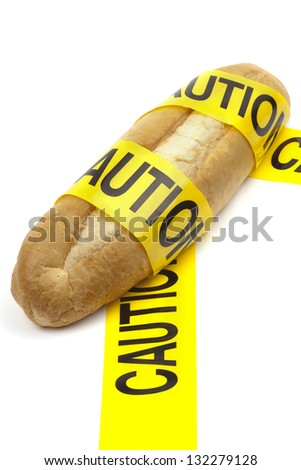 Dietary warning or gluten/wheat allergy warning (Loaf of bread wrapped in yellow caution tape)