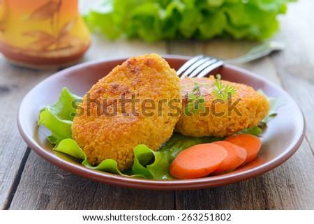 Dietetic carrots cutlets - stock photo