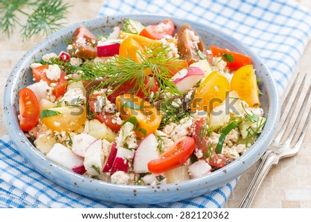 dietetic food - fresh salad with vegetables and cottage cheese, close-up - stock photo