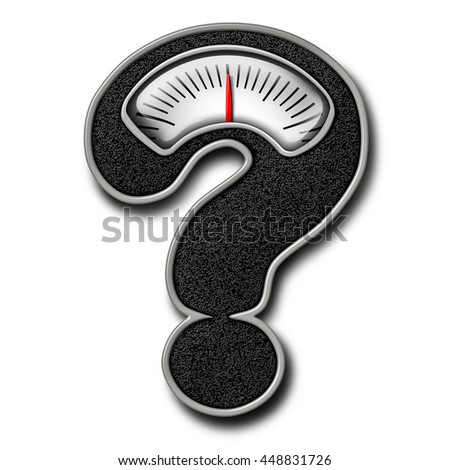 Dieting advice symbol as a bathroom weight scale shaped as a question mark representing diet confusion and healthy body lifestyle information in a 3D illustration style on a white background. - stock photo